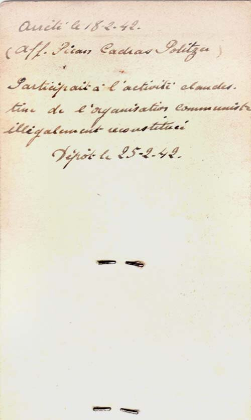 Fiche de police (Verso)